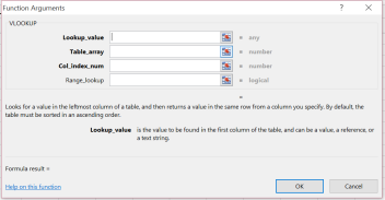 Function Argument Dialog Box