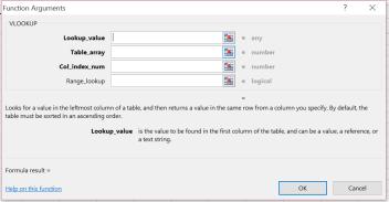 Function Argument Dialog Box